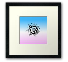 Flower Drawing - Pink and Blue Ombre Background (Smaller) Framed Print
