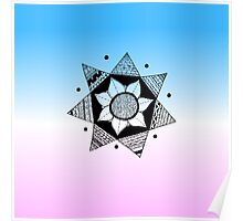 Flower Drawing - Pink and Blue Ombre Background (Smaller) Poster