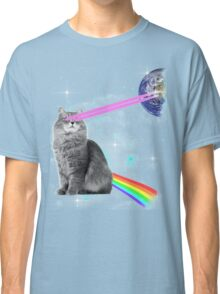 Outer Space Rainbow Kitty Cat Laser Eyes On Earth Classic T-Shirt