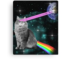 Outer Space Rainbow Kitty Cat Laser Eyes On Earth Canvas Print