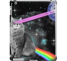 Outer Space Rainbow Kitty Cat Laser Eyes On Earth iPad Case/Skin