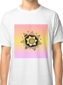 Flower Drawing - Peach Ombre Background (Smaller) Classic T-Shirt
