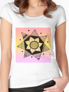 Flower Drawing - Peach Ombre Background (Larger) Women's Fitted Scoop T-Shirt