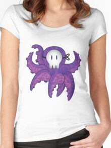 Skull Mask Purple Octopus Women's Fitted Scoop T-Shirt