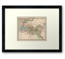 Vintage Map of The Roman Empire (1838) Framed Print