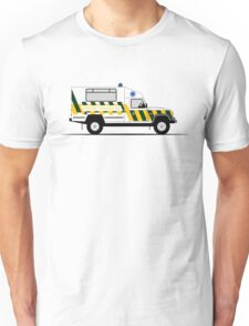 A Graphical Interpretation of the Defender 130 Single Cab Ambulance Unisex T-Shirt