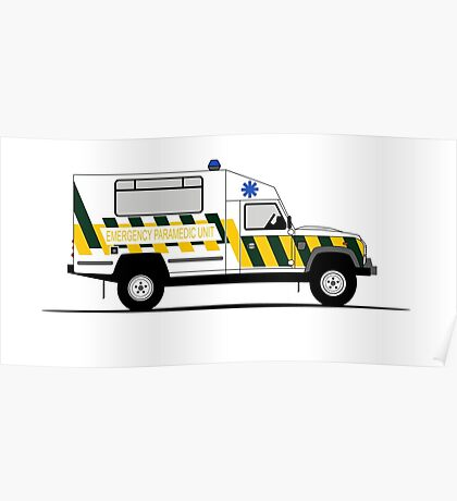 A Graphical Interpretation of the Defender 130 Single Cab Ambulance Poster