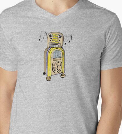 Jukebox Bot Mens V-Neck T-Shirt