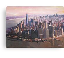 The unforgettable Skyline of New York City Manhattan with Freedom Tower at Dusk Canvas Print