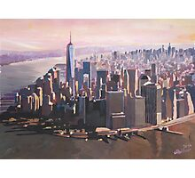 The unforgettable Skyline of New York City Manhattan with Freedom Tower at Dusk Photographic Print
