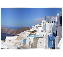 28 September 2016 View of white buildings in Santorini, Greece Poster