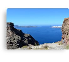 The Aegean sea in Santorini, Greece and the volcanic formations Canvas Print