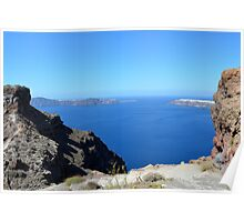 The Aegean sea in Santorini, Greece and the volcanic formations Poster