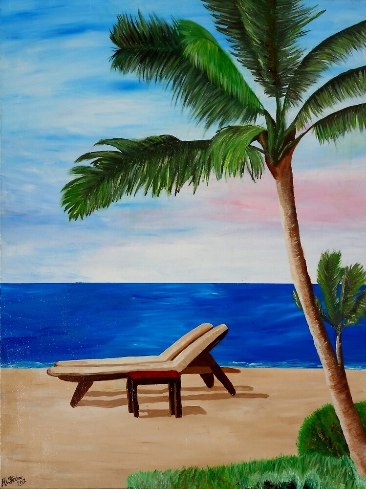 Caribbean Strand with Beach Chairs by artshop77