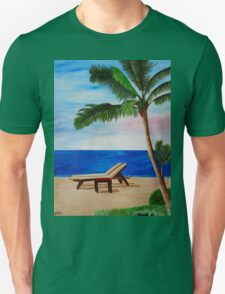 Caribbean Strand with Beach Chairs Unisex T-Shirt