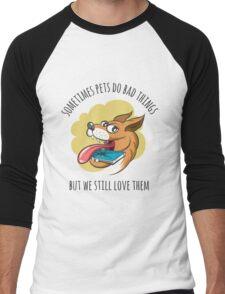 Dog Bites Cell Phone Men's Baseball ¾ T-Shirt