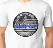 Thin Blue Line with a Badge and a Flag Unisex T-Shirt