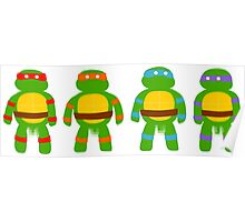 Pixellated Turtles Poster