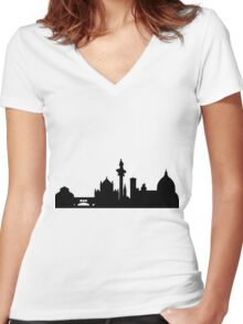 Florence skyline Women's Fitted V-Neck T-Shirt