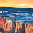 Long Island Beach Scene - Hamptons South Fork Beach Walk with Fence by artshop77