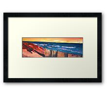 Long Island Beach Scene - Hamptons South Fork Beach Walk with Fence Framed Print