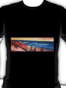 Long Island Beach Scene - Hamptons South Fork Beach Walk with Fence T-Shirt