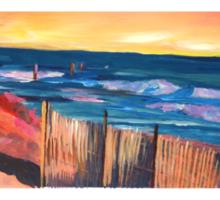 Long Island Beach Scene - Hamptons South Fork Beach Walk with Fence Sticker
