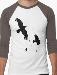 A Murder of Crows In Flight Vector Silhouette Men's Baseball ¾ T-Shirt