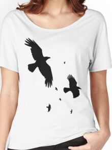 A Murder of Crows In Flight Vector Silhouette Women's Relaxed Fit T-Shirt