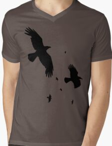 A Murder of Crows In Flight Vector Silhouette Mens V-Neck T-Shirt