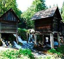 Mini Watermills on Pliva Lake by jojobob