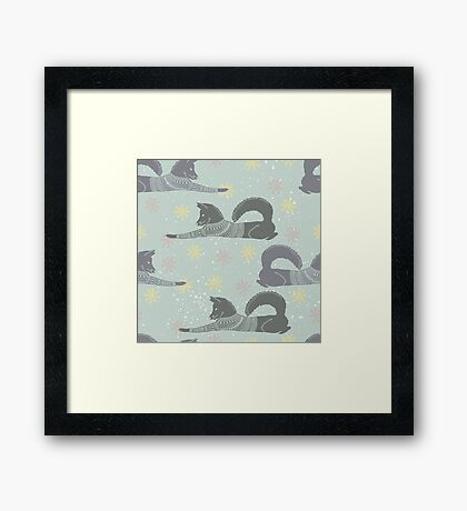 Foxes in jumpers winter design  Framed Print