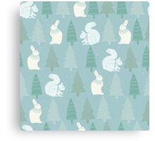 Squirrels and Christmas trees winter design Canvas Print
