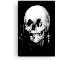 Woman with Halloween Skull Reflection In Mirror Canvas Print