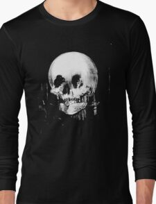Woman with Halloween Skull Reflection In Mirror Long Sleeve T-Shirt