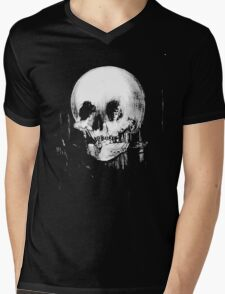 Woman with Halloween Skull Reflection In Mirror Mens V-Neck T-Shirt