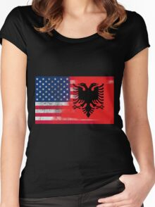 Albanian American Half Albania Half America Flag Women's Fitted Scoop T-Shirt