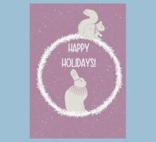 Squirrel and hare winter Christmas design - happy holidays Kids Tee