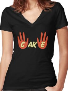 Cake (Cartoon Style) Women's Fitted V-Neck T-Shirt