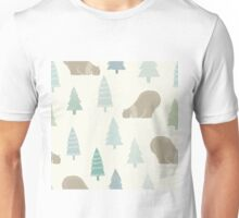Polar bear in a scarf and Christmas trees winter design Unisex T-Shirt