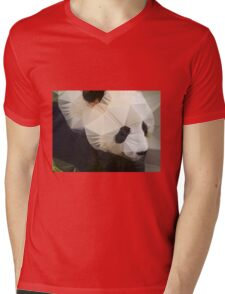 Polygon art panda Mens V-Neck T-Shirt