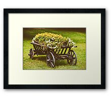 Flower Country Wagon On Green Grass Framed Print