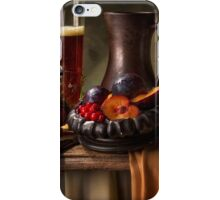 Still Life with Beer, Cranberries, Plums & Pomegranate iPhone Case/Skin
