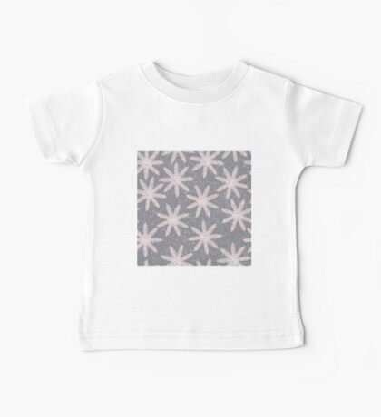 Snowflake blizzard embroidery in pink and gray design Baby Tee