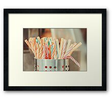 Colorful Plastic Straws In Metal Can Framed Print
