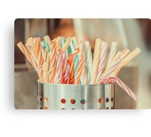 Colorful Plastic Straws In Metal Can Canvas Print