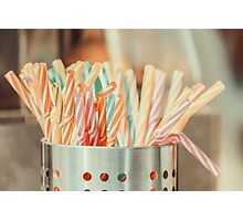 Colorful Plastic Straws In Metal Can Photographic Print