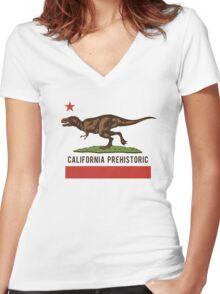 California Prehistoric Women's Fitted V-Neck T-Shirt