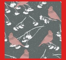 Red cardinals in hats and scarves winter design One Piece - Long Sleeve