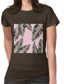 Watercolor tropical palm leaves on pink background Womens Fitted T-Shirt